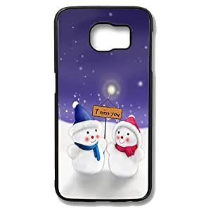 Samsung Galaxy S6 Edge Case - Snowman Dating Slim Bumper Case with Soft Flexible TPU Material for Samsung Galaxy S6 Edge Black