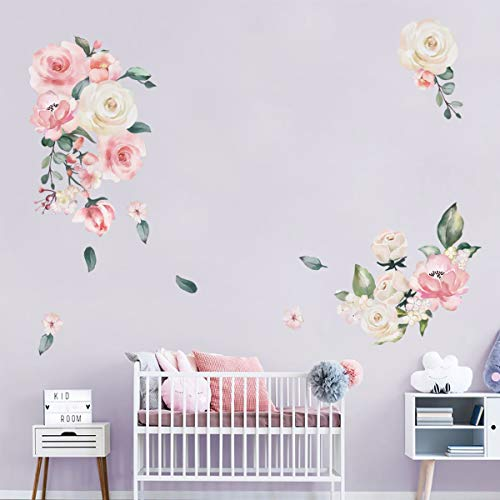 decalmile Watercolor Pink Flowers Wall Stickers Peony Rose Wall Decals Living Room Bedroom TV Wall Art - Roses Decal