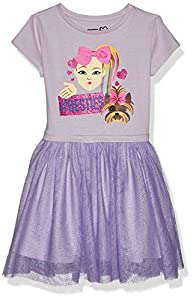 JoJo Siwa Girls' #Besties Emoji JoJo Bow Siwa Tutu Dress with Tulle Skirt