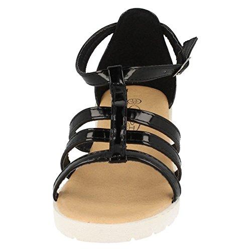 Mädchen Spot On Heels Riemchen Sandalen H1065 schwarzer lack