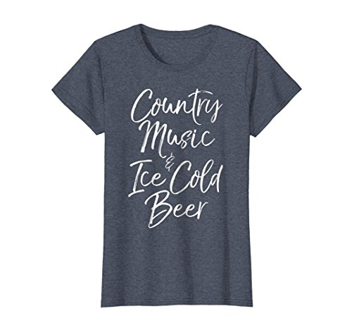 Womens Country Music and Ice Cold Beer Shirt Funny Alcohol Tee Medium Heather (Ice Cold Beer)