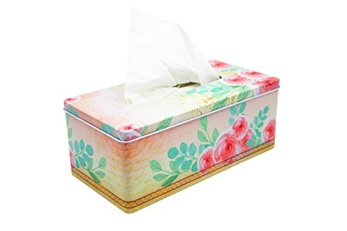 DAHO Tissue Box Cover with Flower, Butterfly, Eiffel Tower & Vintage Designs, Floral