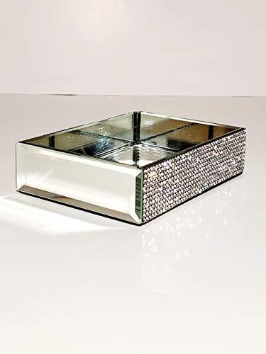 Bella Lux Soap Dish Mirrored and Jeweled Rhinestones Bathroom Kitchen Soap Holder -