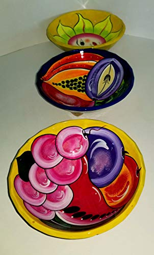 Unique Hand Painted Talavera Pottery Molcajete Chip and Dip Salsa Bowl Serving Set of 3. Colorful Mexican Style Kitchen Decor Accesories. Floral design, for Guacamole, Salad, Pita Snack, Salt, Spices