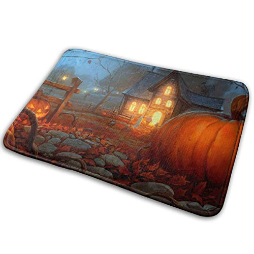 Feim-AO Scary Halloween House Anti-Slip Machine-Washable Door Mats