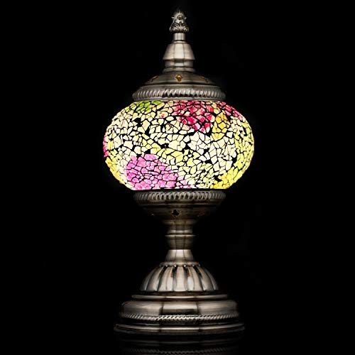 Handmade Turkish Glass Mosaic Table Lamp with Mosaic Lantern for Room Decoration WhiteYellow
