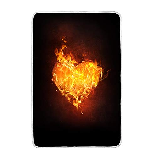 suhongliang Throw Blanket 3D Style Design with Heart Fire Fl