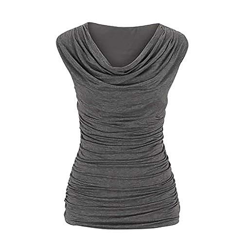 (Sttech1 Women's Sleeveless T-Shirt Round Neck Pullover Slim Thin Pleated Tank Top)