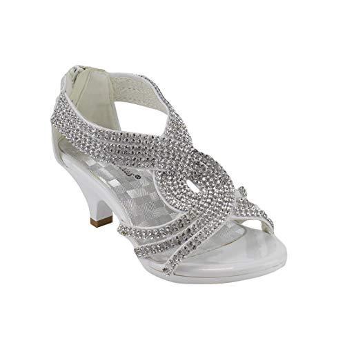 J.J.F Shoes Fabulous Angel-37K Little Girls Bling Rhinestone Platform Dress Heels Sandals,White,10