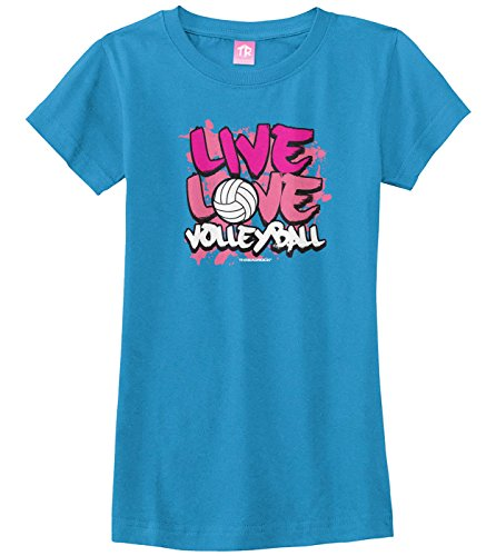 Threadrock Big Girls' Live Love Volleyball Fitted T-Shirt L Turquoise - Girls Volleyball T-shirts