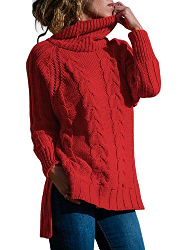 Cashmere Red Sweater - Womans Long Sleeve Cowl Neck Casual Loose Knit Pullover Cashmere Sweaters Tunics for Women Plus Size XXL Red