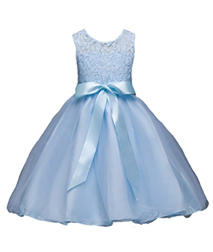 Horcute Lace Gauze One-piece Flower Girl Dress Light Blue 130#5-6Y