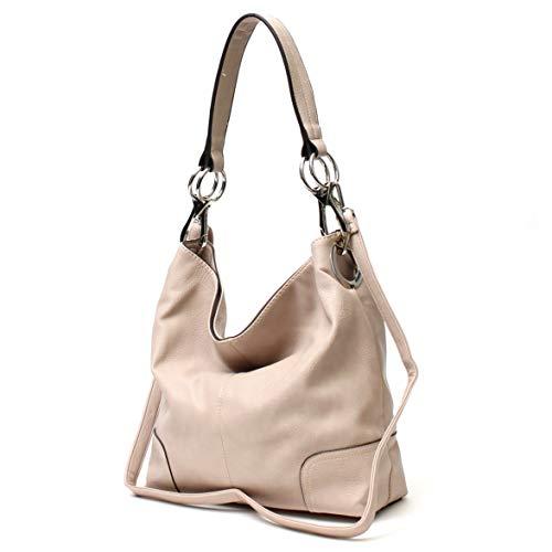 Janin Handbag Bucket Style Hobo Shoulder Bag with Big Snap Hook Hardware Tall - Bucket Hobo Handbag