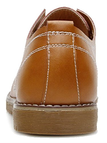 PPXID Mens Formal Dress Casual Lace-up Oxfords Leather Shoes Yellow y6wpwwKQS9