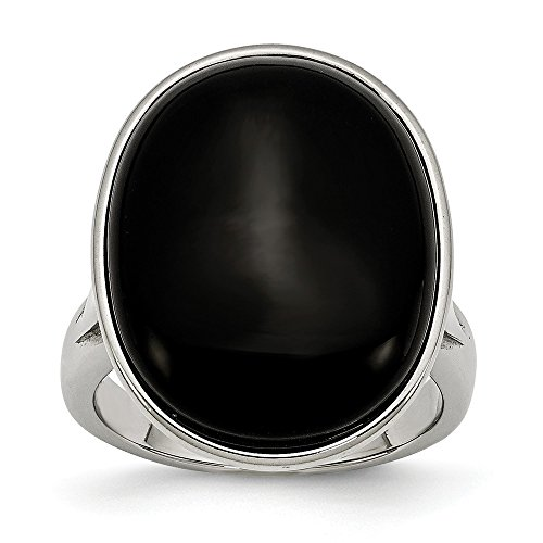 ICE CARATS Stainless Steel Black Agate Size 7 Band Ring Stone Natural Fashion Jewelry Gifts for Women for Her
