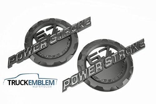 - 2 NEW MATTE BLACK FORD CUSTOM 6.7L F250 F350 POWERSTROKE DOOR BADGES EMBLEMS SET PAIR