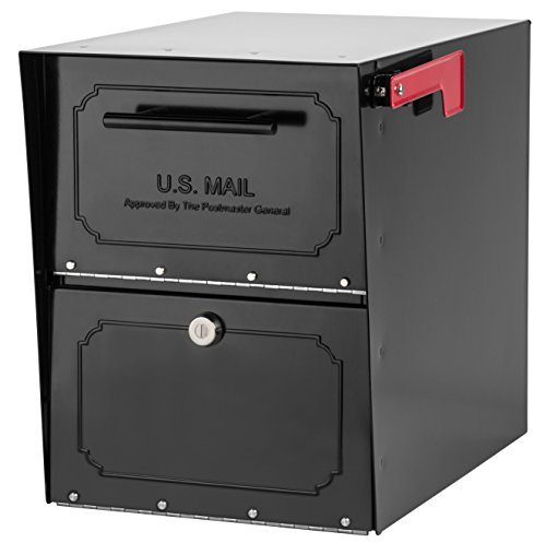 Black 18 Gauge Steel Post - Architectural Mailboxes 6200B-10  Oasis Classic Locking Post Mount Parcel Mailbox with High Security Reinforced Lock