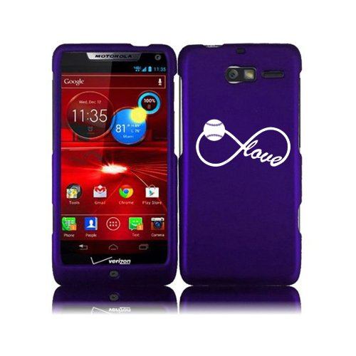 For Motorola Droid Razr M XT907 Snap On 2 Piece Rubber Hard Case Cover Infinity Infinite Love for Baseball Softball (Purple) (Droid Razr M Case Infinity)