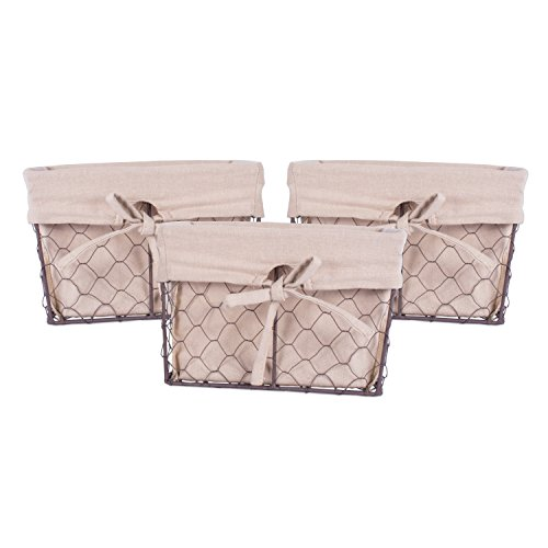 Home Traditions Vintage Metal Chicken Wire Storage Basket with Removable Fabric Liner, Set of 3 Small Sized, Natural (Small Wire Baskets)
