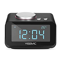 """YISSVIC Digital Alarm Clock with 3.2""""LED Display FM Radio AUX-IN Speaker Indoor Thermometer 2 USB Charger Port Snooze and Dual Alarm for Bedroom Black"""