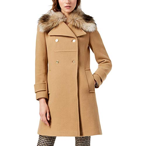 Michael Kors Womens Winter Double-Breasted Wool Coat Tan 6 (Michael Michael Kors Double Breasted Trench Coat)