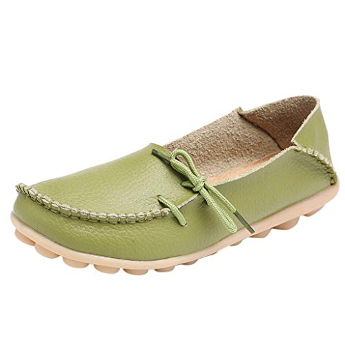 Flat Loafer for Women,SMALLE◕‿◕ Women's Leather Loafers Flats Casual Round Toe Summer Moccasins Wild Driving Shoes Beige