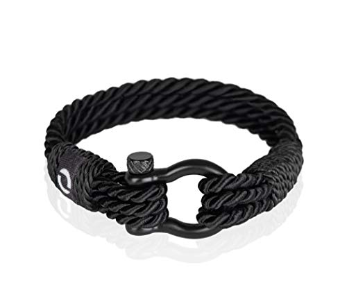 5a446c98abd29c Mens Paracord Bracelet | Unique, Beautiful Twisted Rope Bracelets | Elegant Shackle  Clasp, Handcrafted Nautical Theme | Black Colour | Black Shackle B-1-6.5