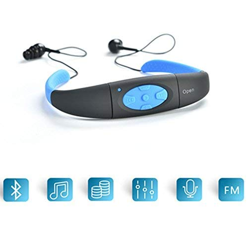 MP3 Player Earbuds, elecfan 8GB Waterproof Neckband Earphone MP3 Player Earphone Comfortable Sports in-Ear Earbud Headphone for Gym Running Riding Hiking Cycling Walking - Black/Blue