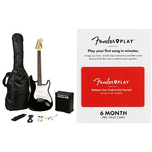 RockJam Electric Guitar Super Pack in Black with 6 Months of Fender Play
