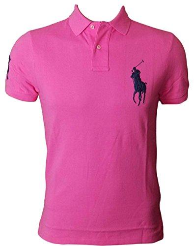 Polo Ralph Lauren Mens Custom Fit Big Pony Mesh Shirt (M, ShockingPink)
