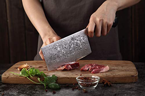 KATSURA Chinese Cleaver Knife – 6.5 Inch – Premium AUS 10, 67 Layers Japanese Damascus Steel Knife -Chefs Choice – Luxury Gift Box by KATSURA (Image #2)