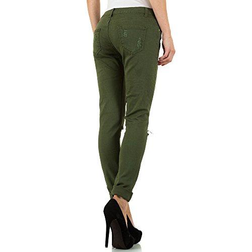 Destroyed Applikationen Skinny Jeans Für Damen , Grün In Gr. Xl bei Ital-Design