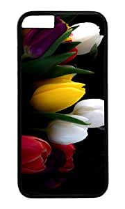 MOKSHOP Adorable Different Tulips Hard Case Protective Shell Cell Phone Cover For Apple Iphone 6 (4.7 Inch) - PC Black
