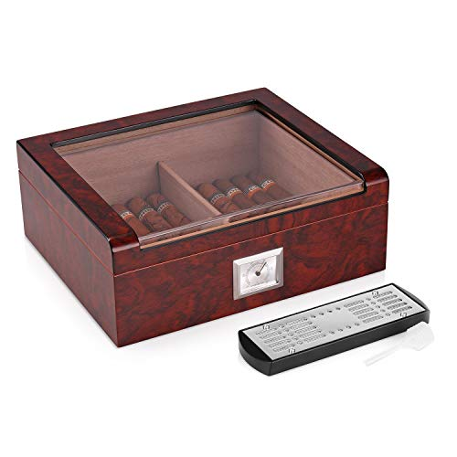 Woodronic Glasstop Cigar Humidor, Bubinga with Spanish Cedar Wood Lined for 35-50 Cigars, Perfect Desktop Display Cigar Box Set with Hygrometer and Humidifier