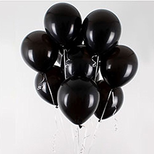 AZOWA 100 Pcs Assorted Latex Party Balloons Black Balloon For Wedding Shower, Engagement, Birthday, Bachelor Party Decorations 12''
