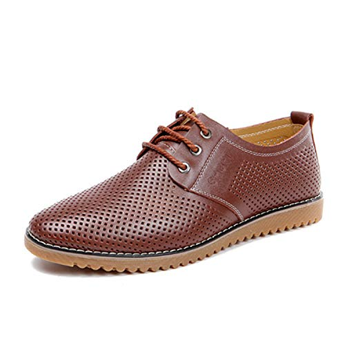 Summer Breathable Casual Shoes Men Genuine Leather Comfortable Soft Summer Oxfords Hollow Male Flats,Brown,12