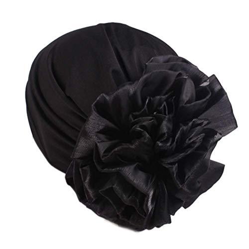Women Big Flower Elastic Turban Beanie Head Wrap Chemo Cap Hat (Black)