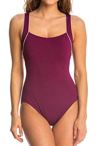 cokar deportivo–Bañador para mujer traje Sport Bañador figurformend Einteiler Swimsuit Rojo