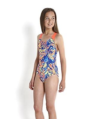 Speedo Girls Colour All Over Splash Back Swimsuit-Collido Koleido Deep Prism//Powder Black Size 28