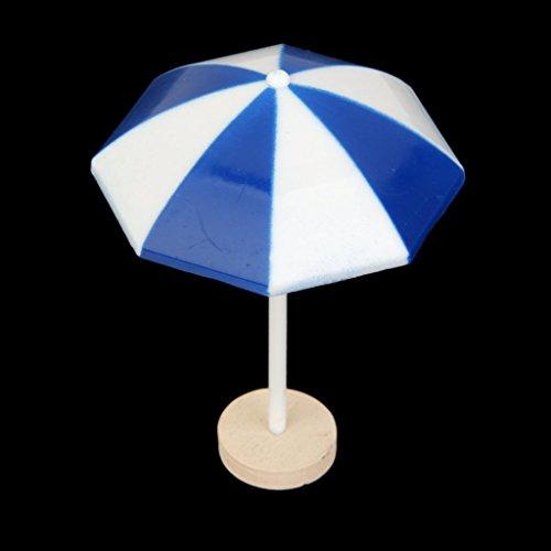 MagiDeal Miniature Dollhouse Bonsai Craft Fairy Garden Glass Vase Blue Beach Sun Umbrella Decor
