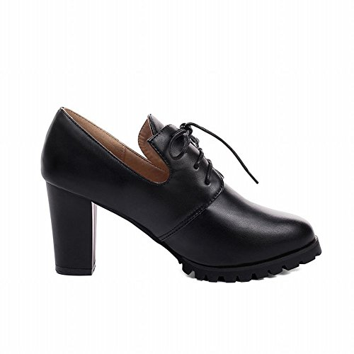 Carolbar Womens Lace-up Decorations Fashion Slip-on New Style High Chunky Heel Pumps Shoes Black KTpfaO