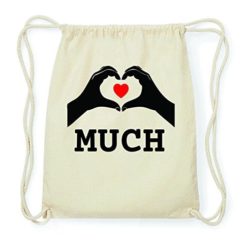 JOllify MUCH Hipster Turnbeutel Tasche Rucksack aus Baumwolle - Farbe: natur Design: Hände Herz