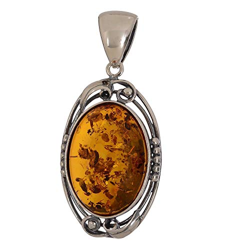 - HolidayGiftShops Sterling Silver and Baltic Honey Amber Pendant Evening