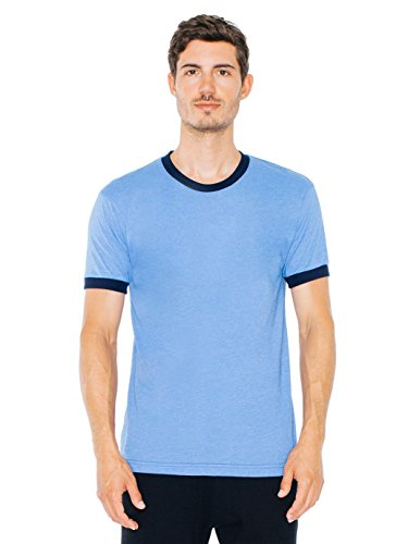 American Apparel Men's Poly-Cotton Short Sleeve Ringer T-Shirt, Heather Lake Blue/Navy, Medium (Blue Ringer)