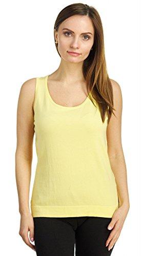 August Silk Women's Sleeveless Round Neck Soft Jersey Knit Shell Tank Top, Sunny Day, Medium