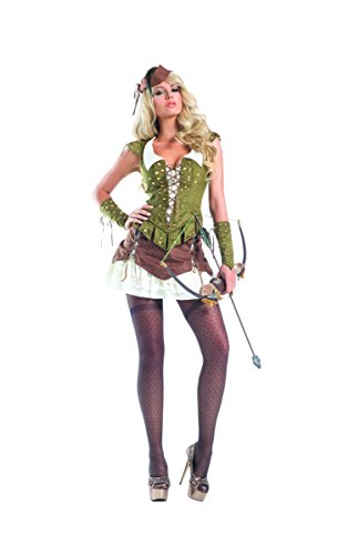Sexy Robin Corset Costumes (Be Wicked Women's 6 Piece Sherwood Beauty, Brown/Green, Small/Medium)