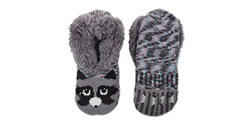 Jacques Moret Women's Cozy Soft Critter Slipper Socks with Non-Slip Grips, Grey, 9-11