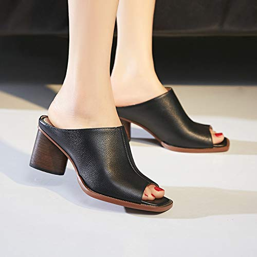 Cool High Slippers KPHY Heels Leather 8Cm And Square Genuine Shoes Retro Fashionable Black Nine Thirty Summer Muller Wear Rough PZr6Pq