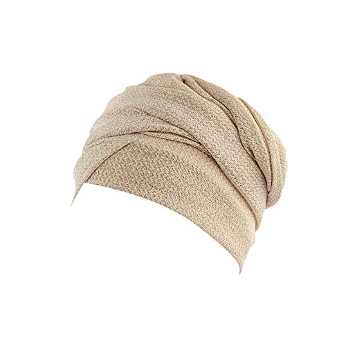 (HYIRI Women India Africa Muslim Stretch Packable BoonieTurban Hat Head Scarf Wrap Cap Beige)