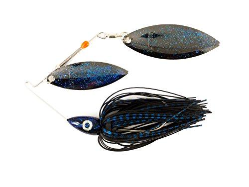 Nichols Lures Pulsator Metal Flake Double Willow Spinnerbait, Black/Blue, -